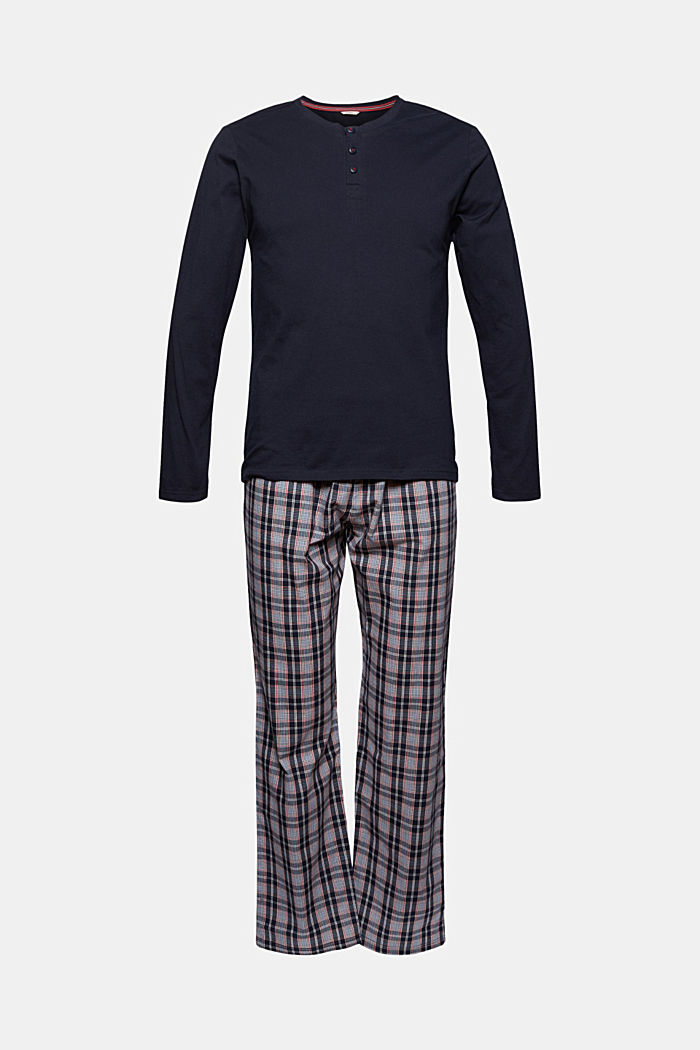 Pyjamas with checked trousers, organic cotton, NAVY, overview