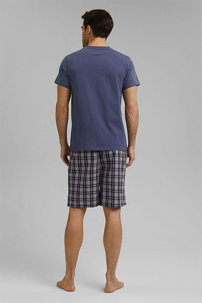 Pigiama con shorts a quadri, cotone biologico, NAVY, detail image number 2