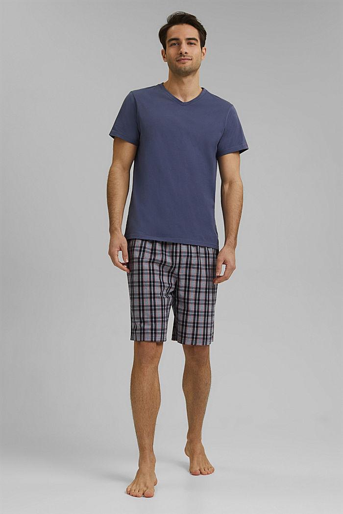 Pigiama con shorts a quadri, cotone biologico, NAVY, detail image number 0