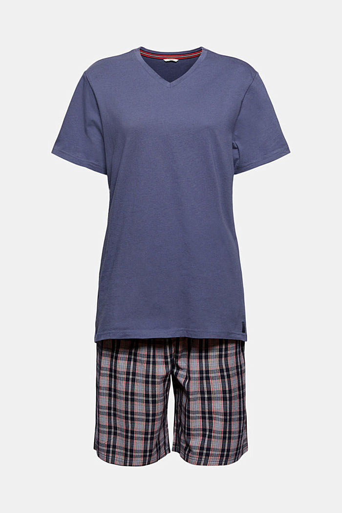 Pyjamas with checked shorts, organic cotton, NAVY, detail image number 4