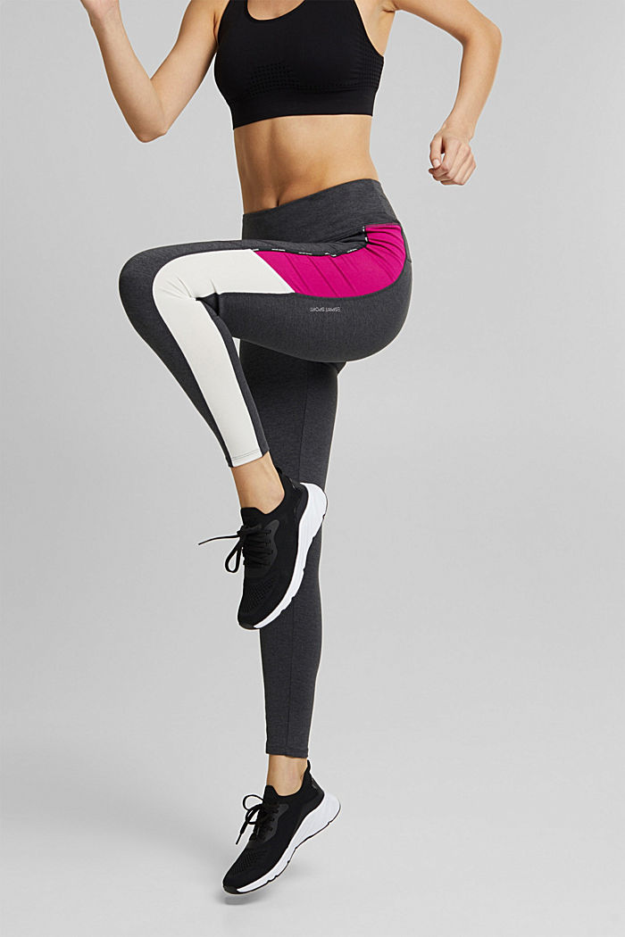 Leggings with colour blocking, E-DRY