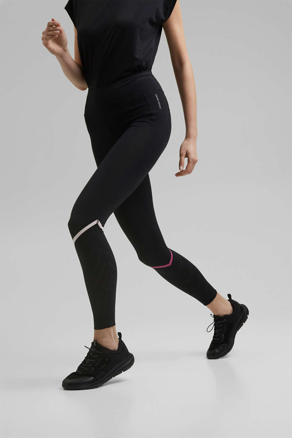 Esprit - Active leggings with laser-cutting, E-DRY
