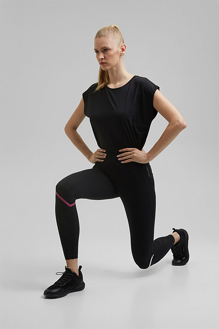 Active leggings with laser-cutting, E-DRY, BLACK, detail image number 1