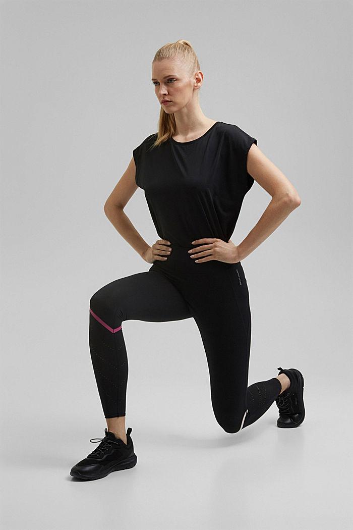 Active-Leggings mit Lasercut, E-DRY, BLACK, detail image number 1