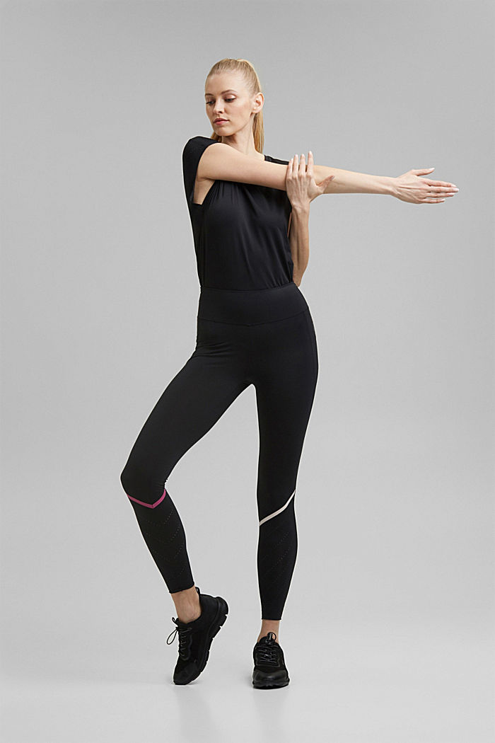 Active leggings with laser-cutting, E-DRY, BLACK, detail image number 7