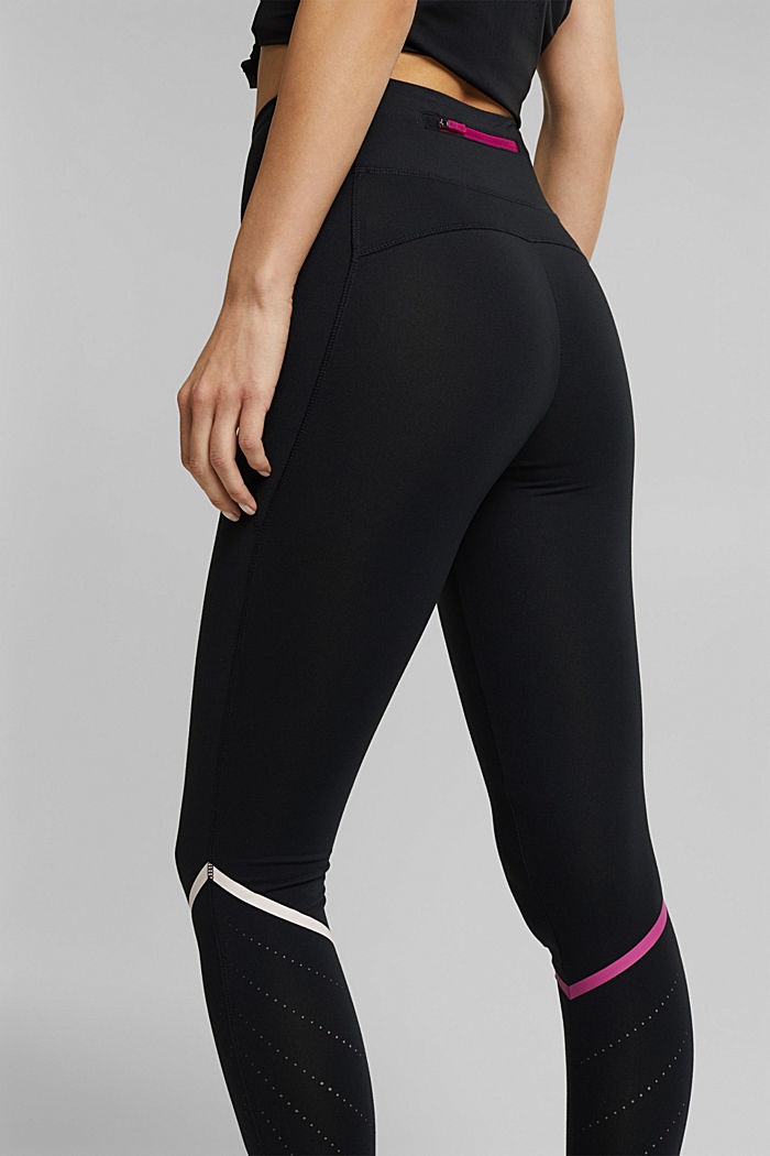 Active leggings with laser-cutting, E-DRY, BLACK, detail image number 2