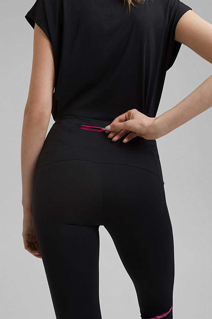 Active leggings with laser-cutting, E-DRY, BLACK, detail image number 5