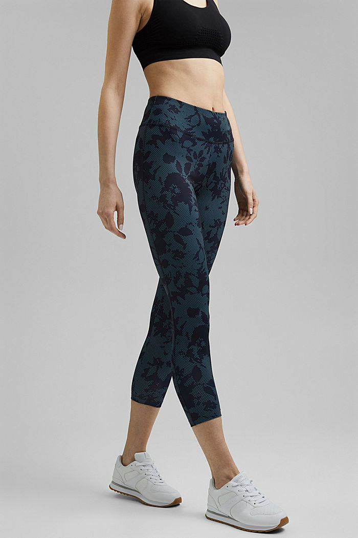 Recycelt: Active-Leggings mit Print und E-Dry, NAVY, detail image number 0