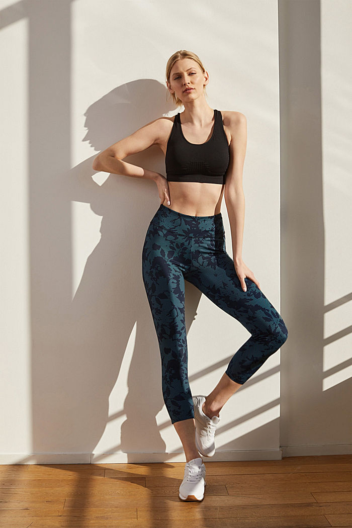 Recycelt: Active-Leggings mit Print und E-Dry, NAVY, detail image number 1