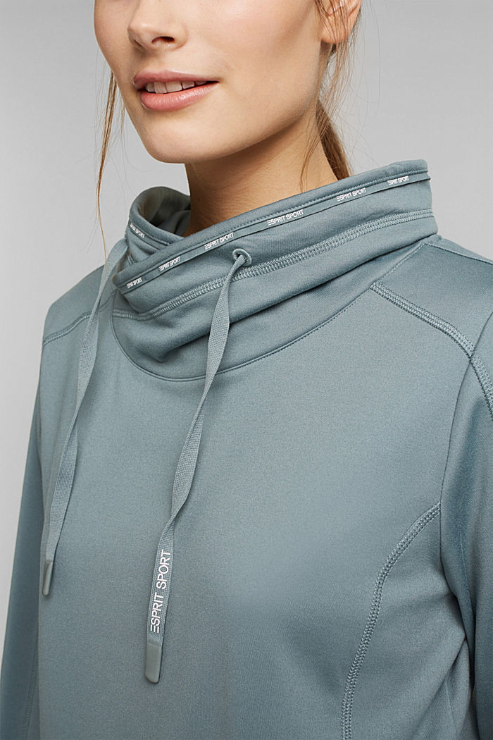 Recycled: Sweatshirt with tunnel collar, DUSTY GREEN, detail image number 2