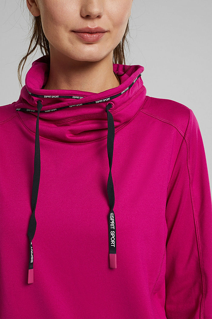 Recycled: Sweatshirt with tunnel collar, BERRY RED, detail image number 2