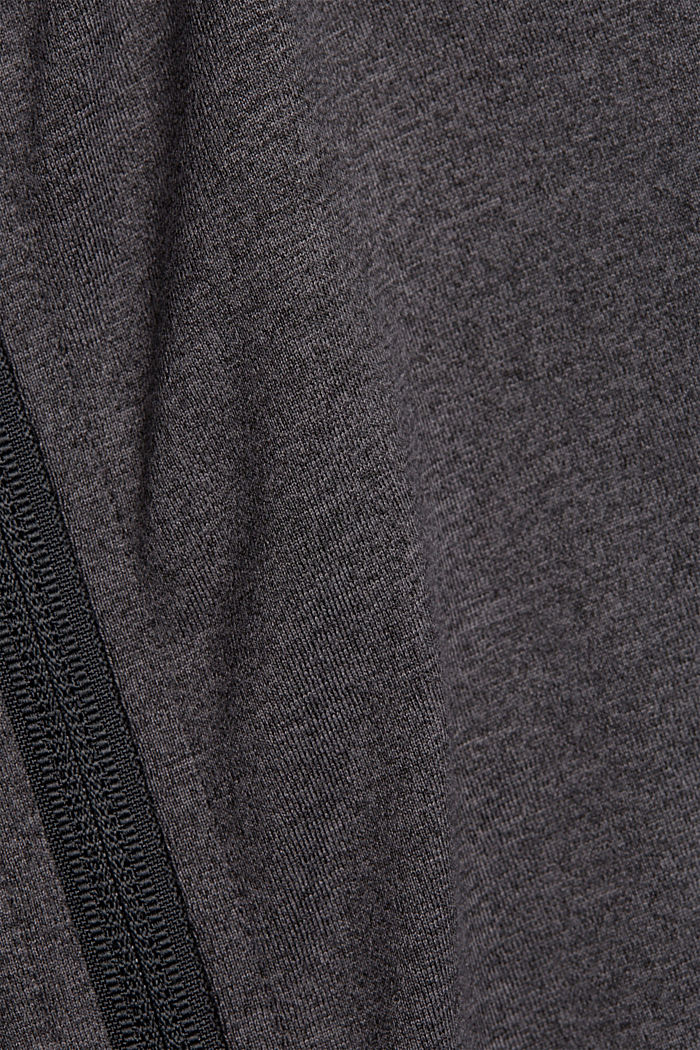 Recycled: sweatshirt cardigan with an E-DRY finish, ANTHRACITE, detail image number 4