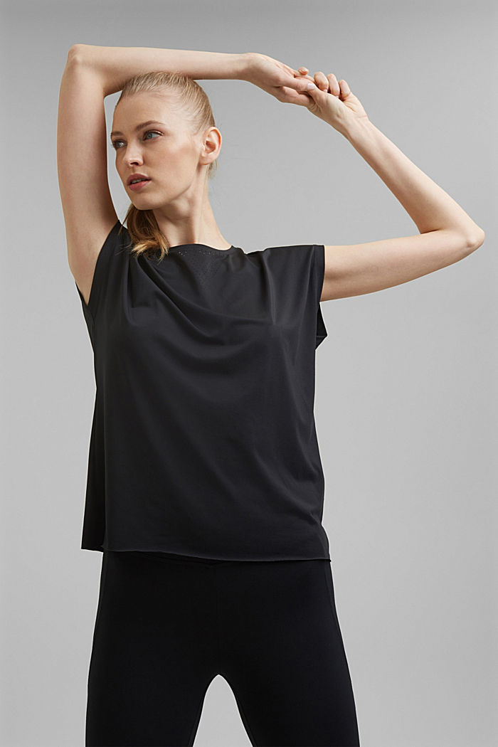 Recycled: Active top with E-DRY, BLACK, detail image number 0