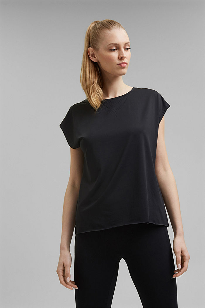 Recycled: Active top with E-DRY, BLACK, detail image number 7