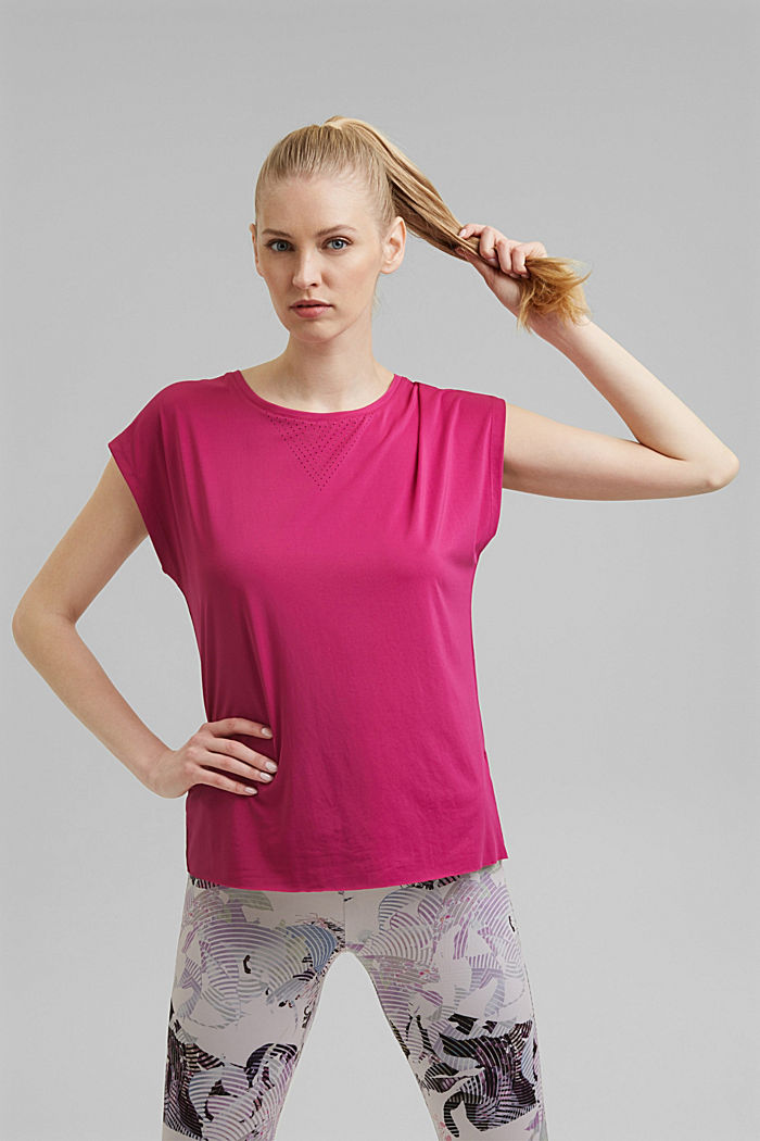 Recycelt: Active Shirt mit E-DRY, BERRY RED, overview