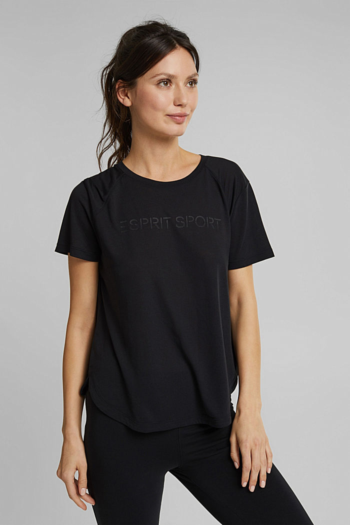 Active T-shirt with logo print, BLACK, detail image number 0
