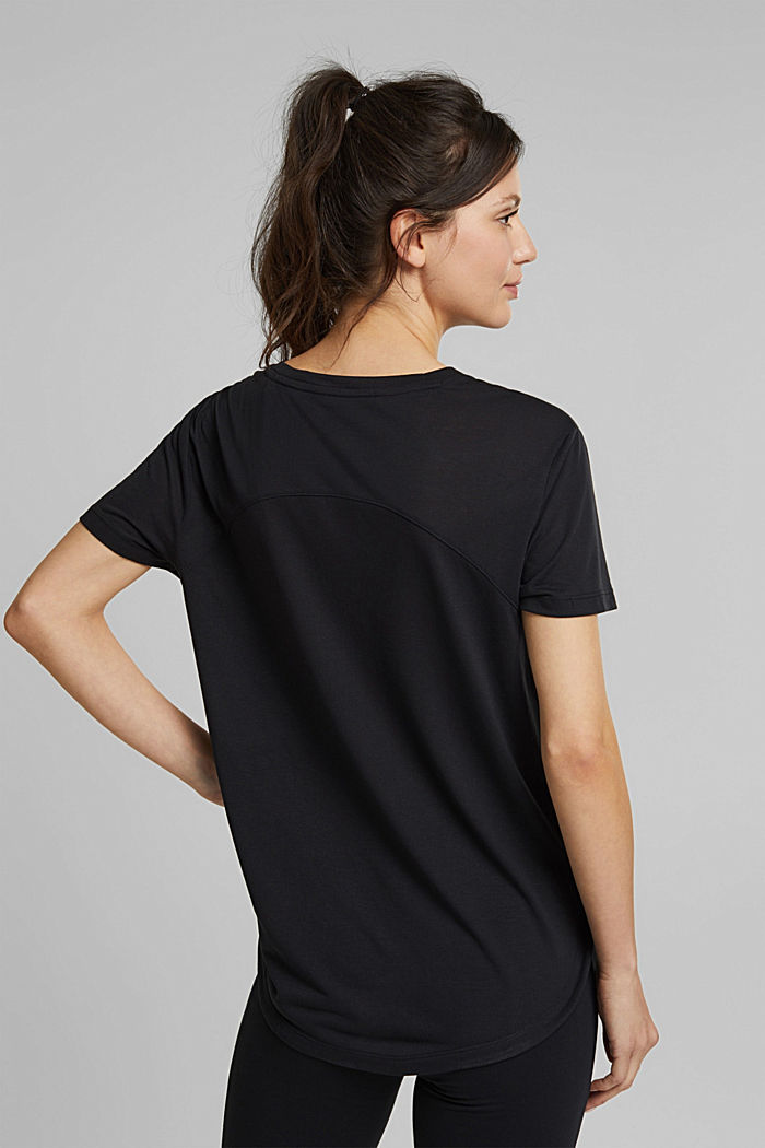 Active T-shirt with logo print, BLACK, detail image number 3