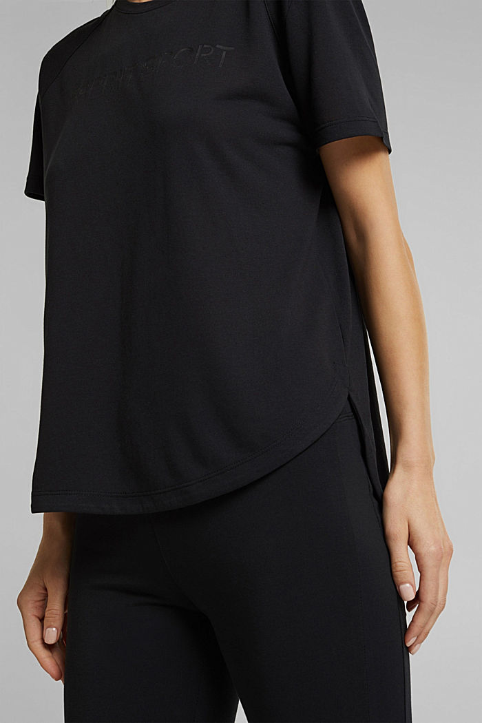 Active T-shirt with logo print, BLACK, detail image number 5