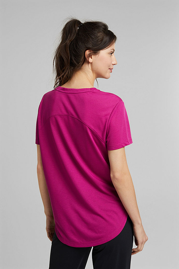 Active T-shirt with logo print, BERRY RED, detail image number 3