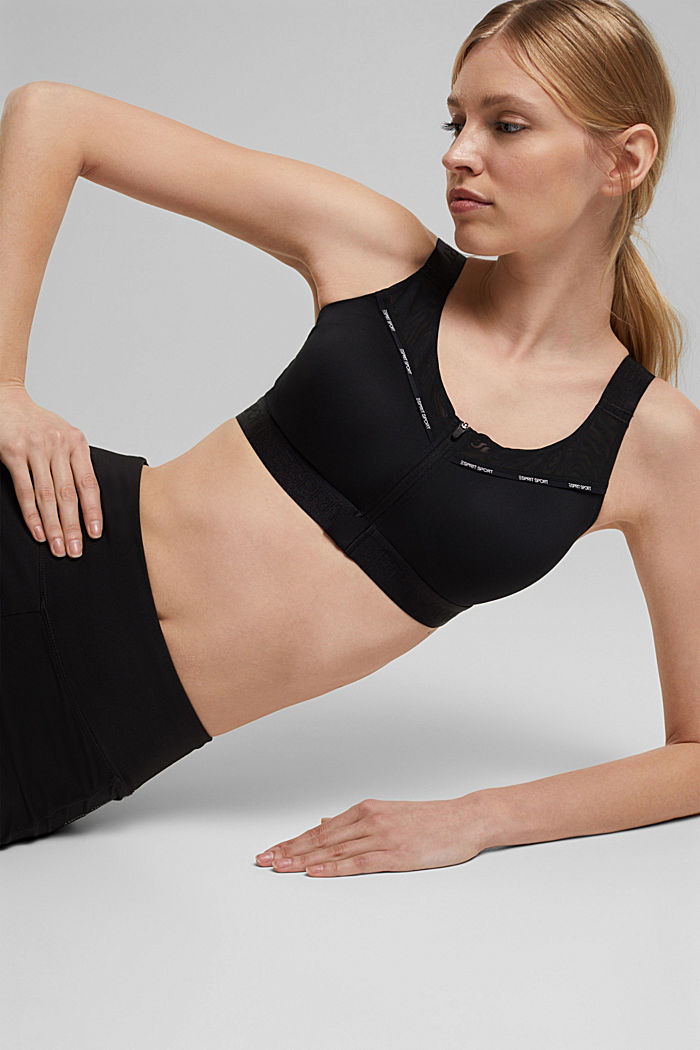 Sports bra with a front zip and padding, BLACK, detail image number 5