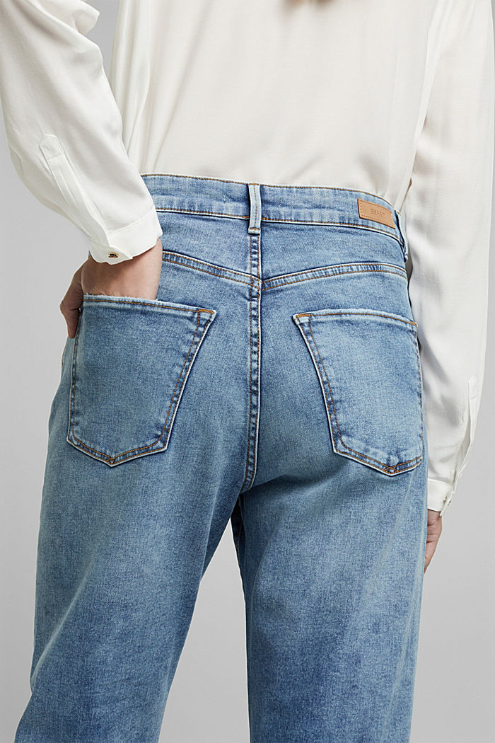 Stretch jeans in organic cotton, BLUE LIGHT WASHED, detail image number 5