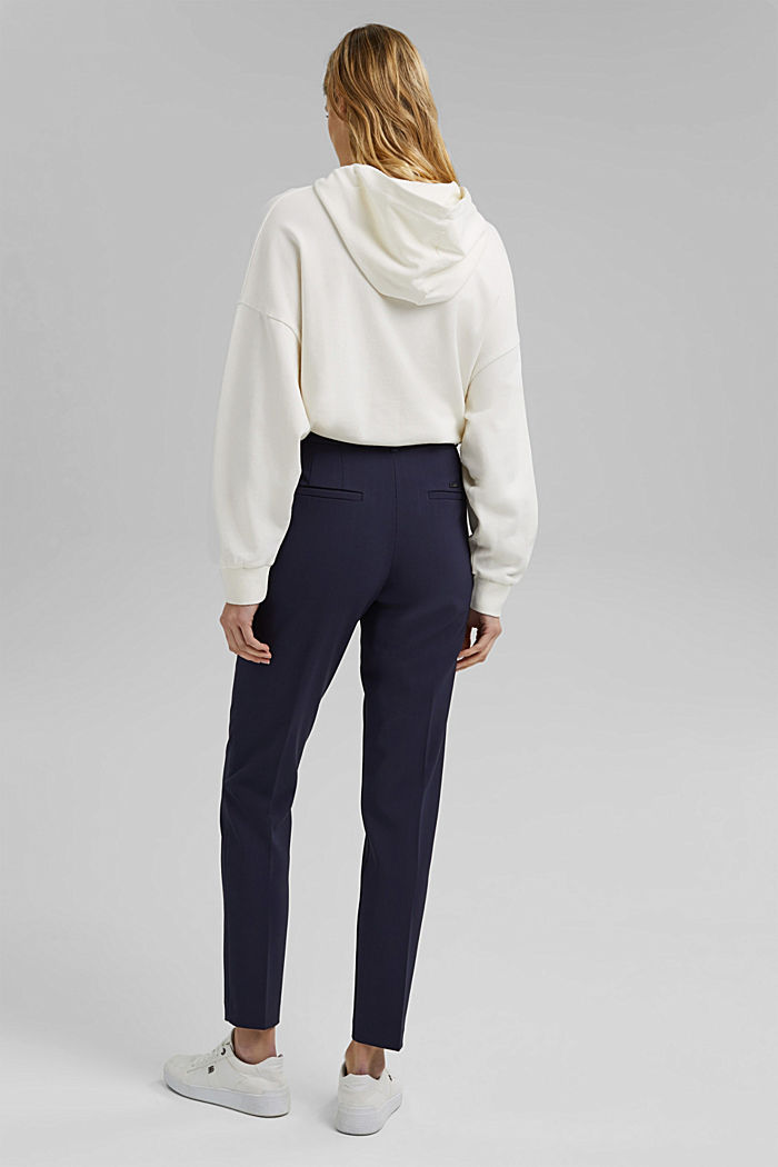 Recycled: stretch trousers with an elasticated waistband, NAVY, detail image number 2