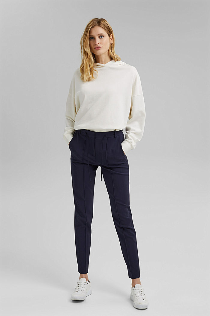 Recycled: stretch trousers with an elasticated waistband, NAVY, detail image number 6