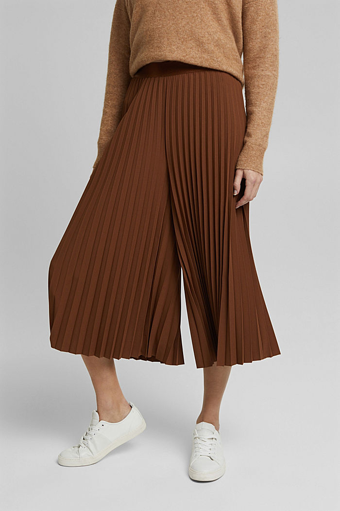 Recycled: pleated and high-waisted culottes, TOFFEE, detail image number 0