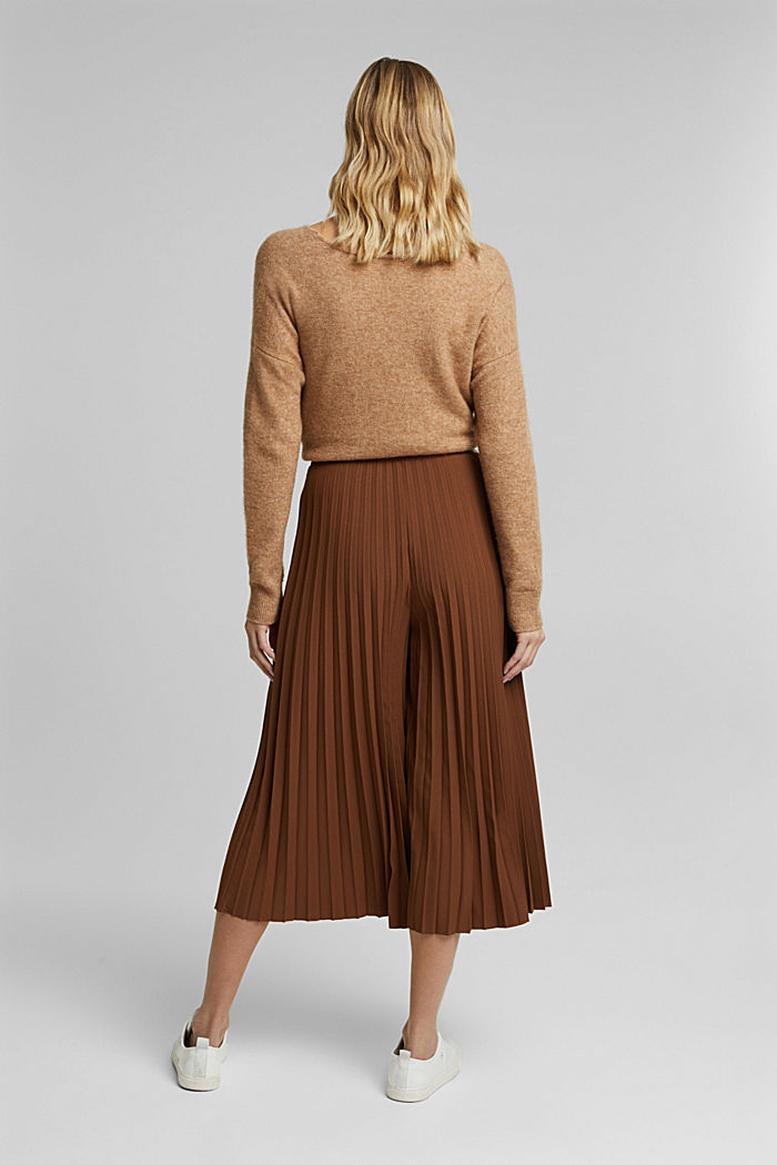 Recycled: pleated and high-waisted culottes, TOFFEE, detail image number 3