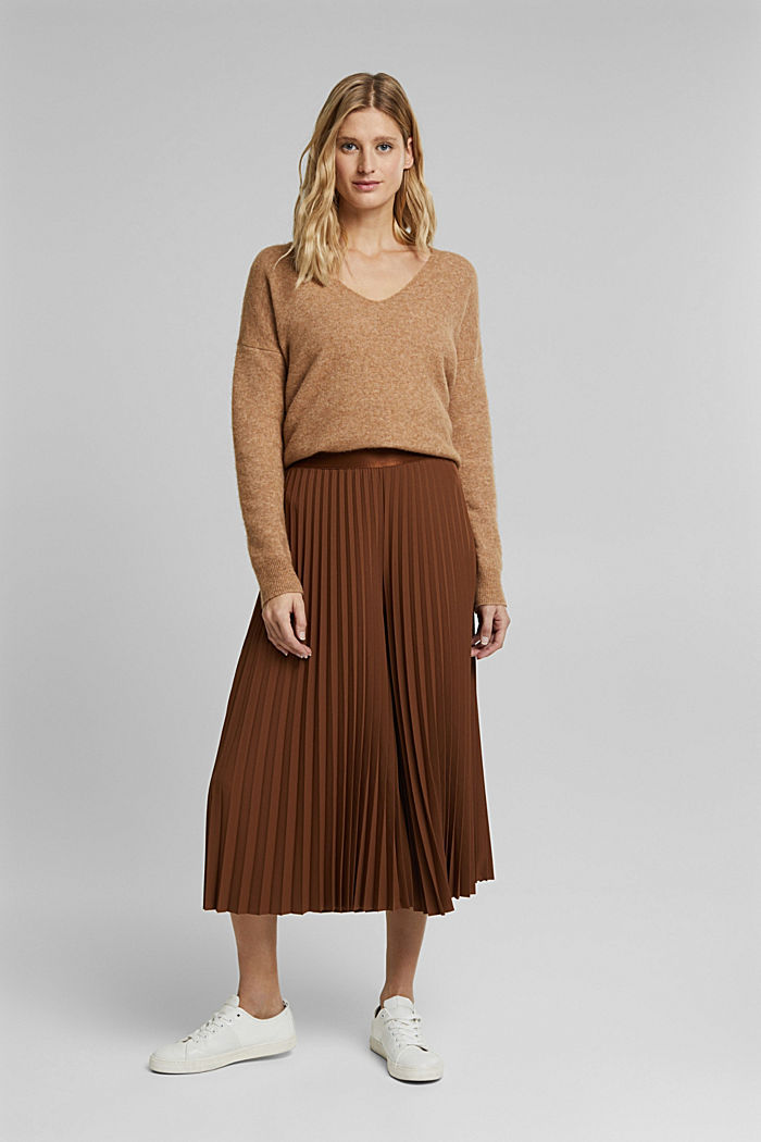 Recycled: pleated and high-waisted culottes, TOFFEE, detail image number 1