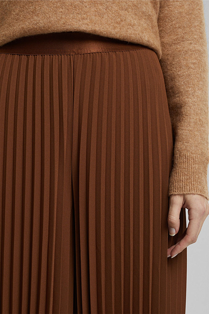 Recycled: pleated and high-waisted culottes, TOFFEE, detail image number 2