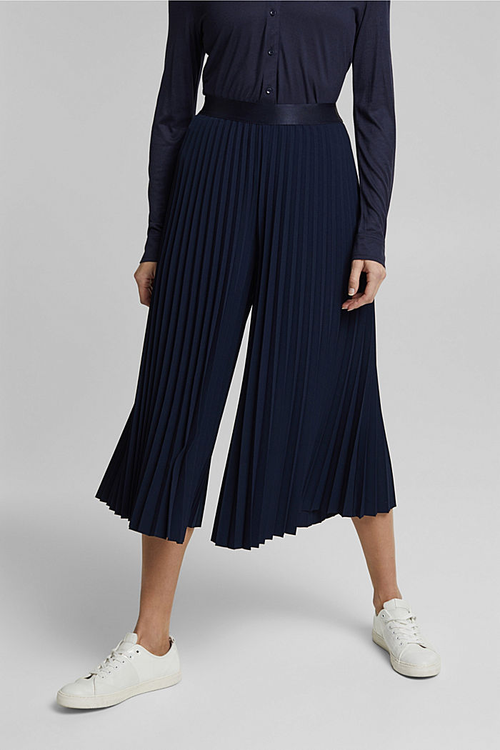 Recycled: pleated and high-waisted culottes, NAVY, detail image number 0