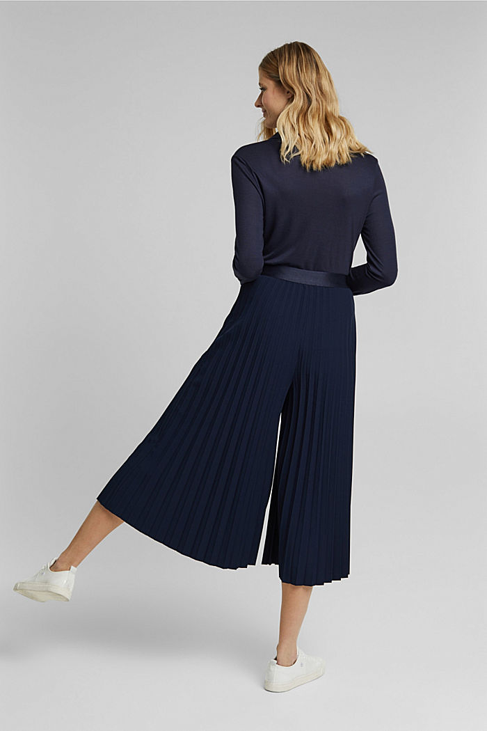 Recycled: pleated and high-waisted culottes, NAVY, detail image number 3