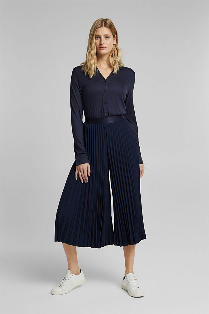 Recycled: pleated and high-waisted culottes, NAVY, detail image number 1