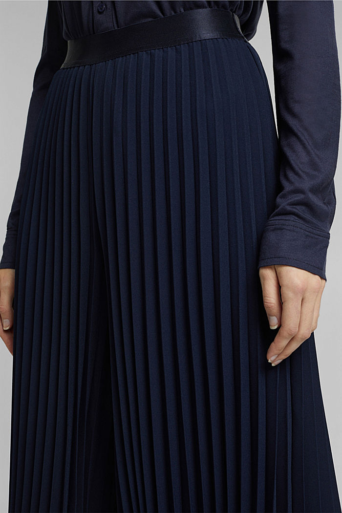 Recycled: pleated and high-waisted culottes, NAVY, detail image number 2