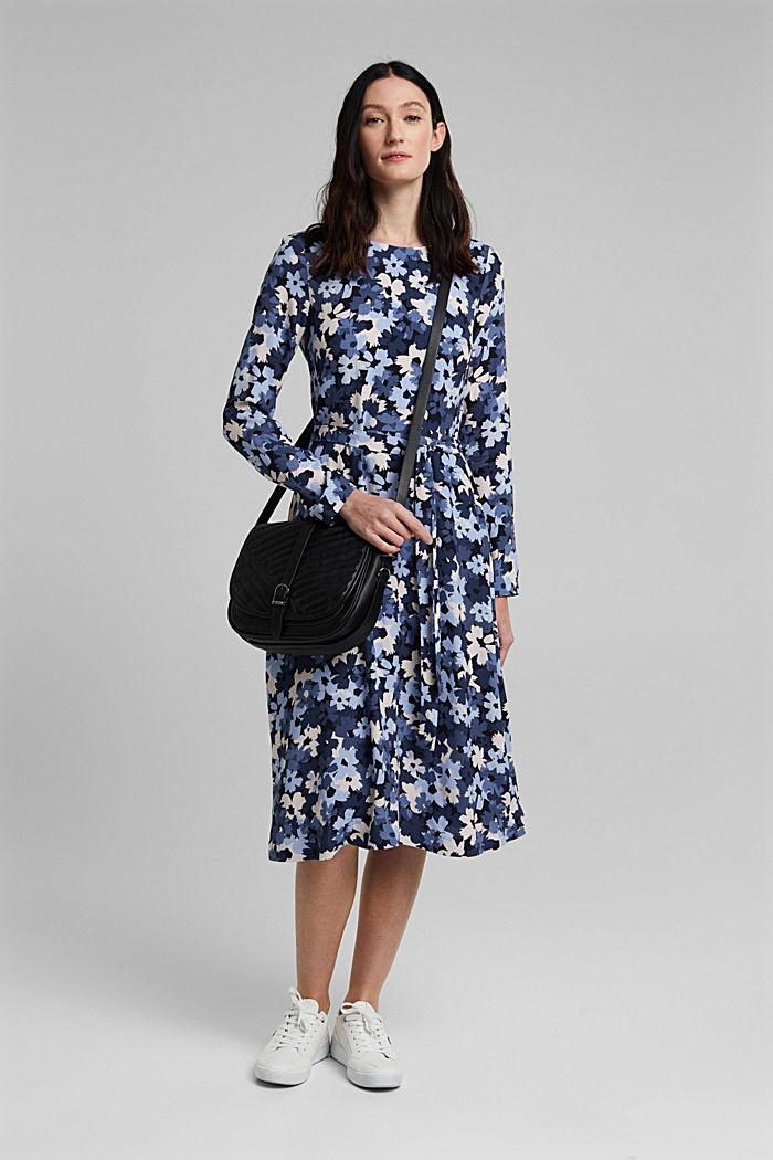 Midi-Kleid aus LENZING™ ECOVERO™, NAVY, detail image number 1