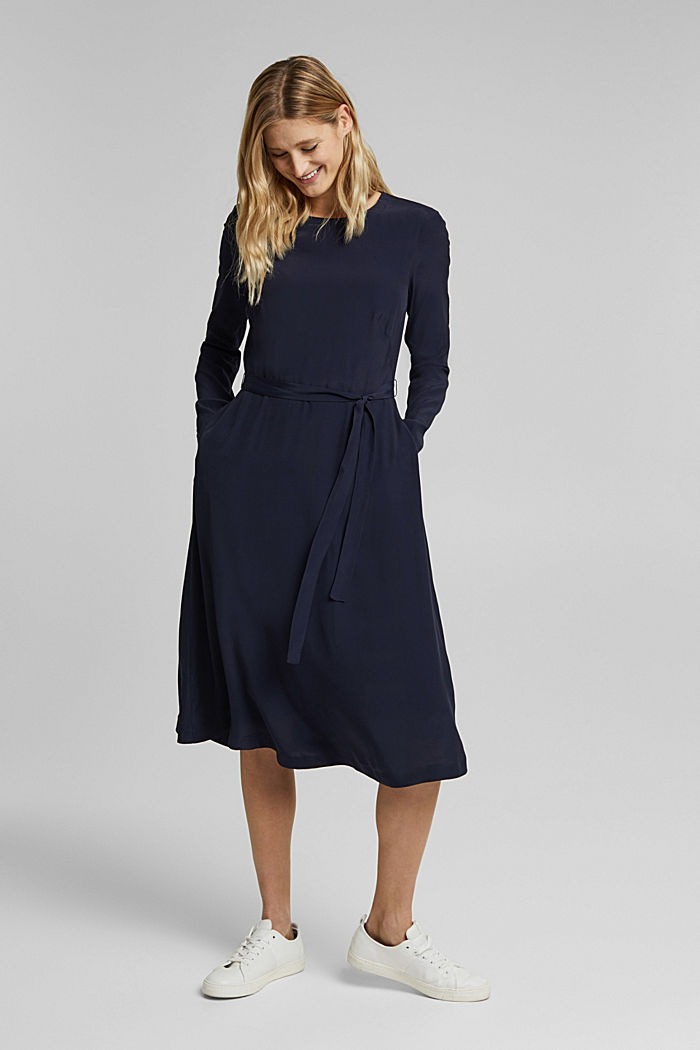 Midi dress with a belt, NAVY, detail image number 1