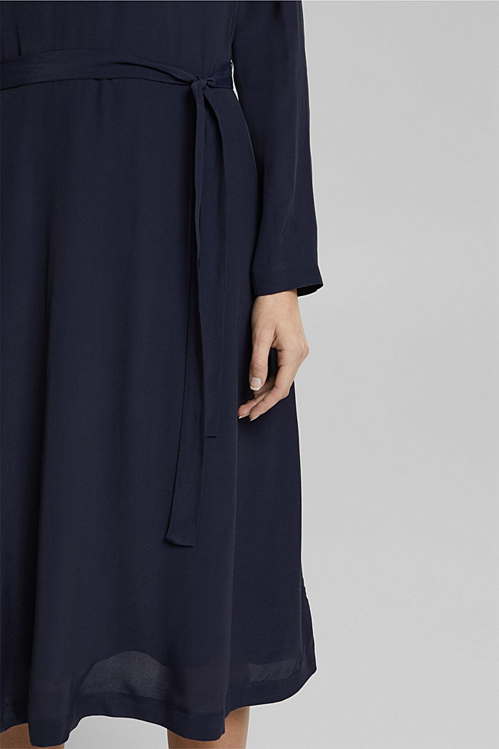 Midi dress with a belt, NAVY, detail image number 3