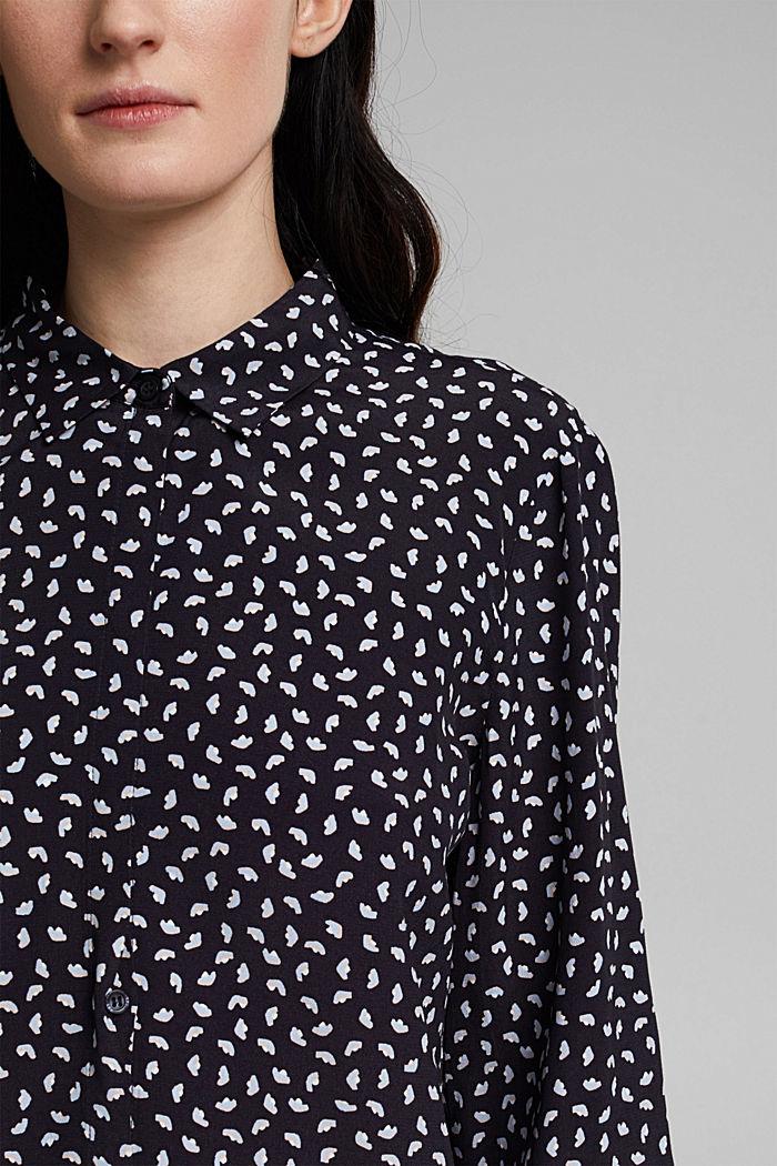 Blusa con stampa minimal, LENZING™ ECOVERO™, NAVY, detail image number 2