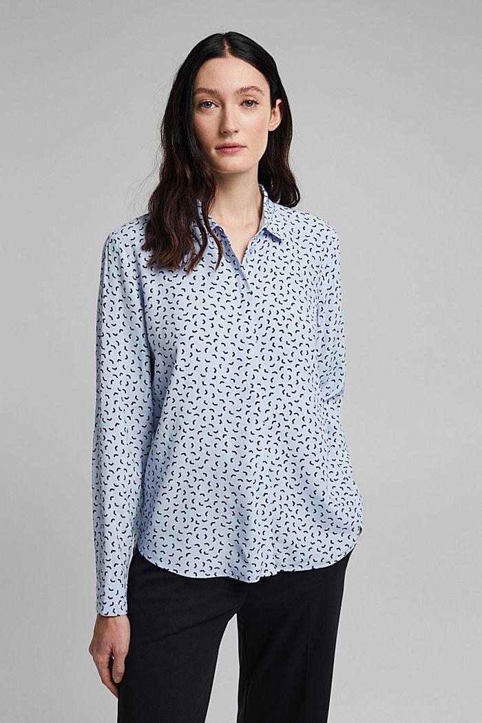 Bluse med småmønstret print, LENZING™ ECOVERO™, PASTEL BLUE, detail image number 0