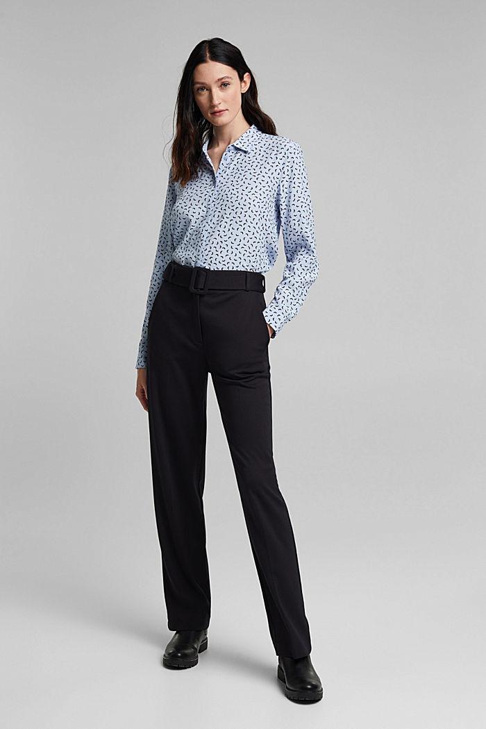 Bluse med småmønstret print, LENZING™ ECOVERO™, PASTEL BLUE, detail image number 5