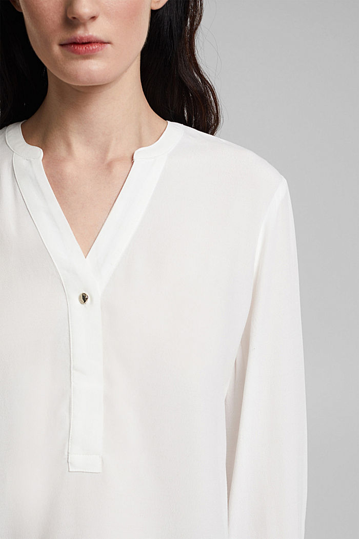 Henley-Bluse mit Layer-Details, OFF WHITE, detail image number 2