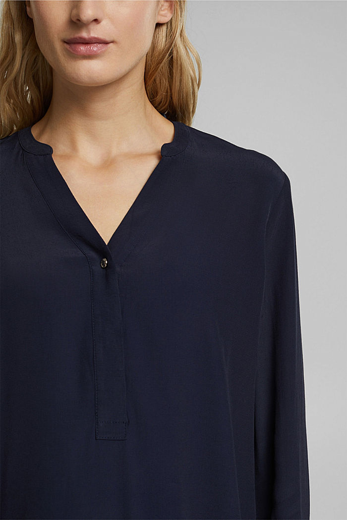 Henley-Bluse mit Layer-Details, NAVY, detail image number 2