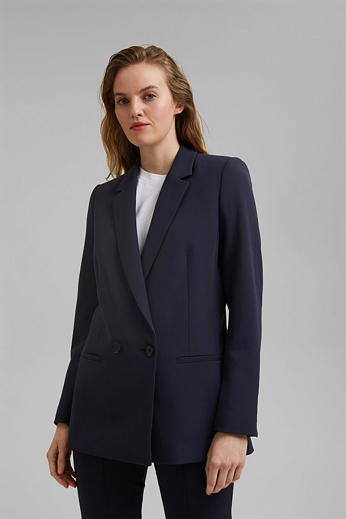 Long-Blazer mit Stretchkomfort, NAVY, detail image number 0