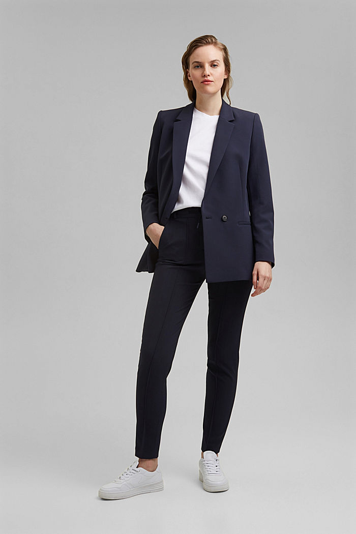 Long-Blazer mit Stretchkomfort, NAVY, detail image number 1