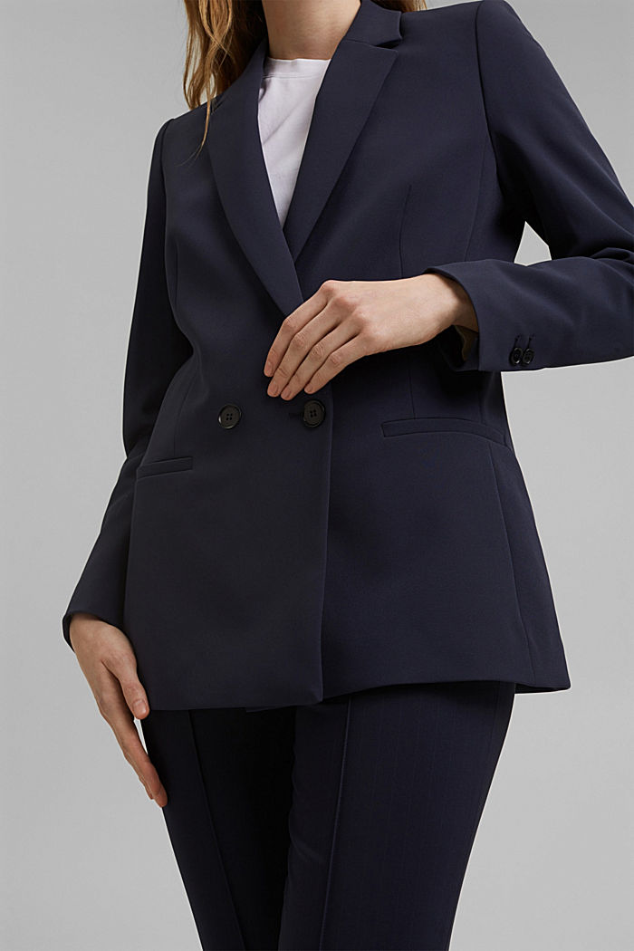 Long-Blazer mit Stretchkomfort, NAVY, detail image number 2