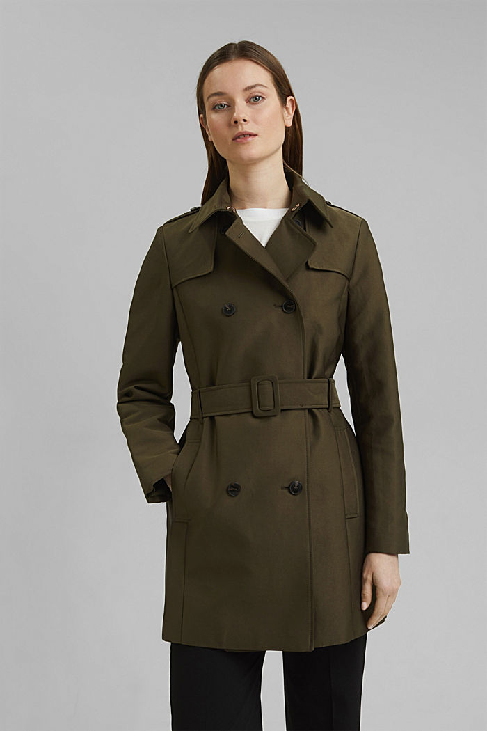 Trench coat in blended cotton, OLIVE, detail image number 0