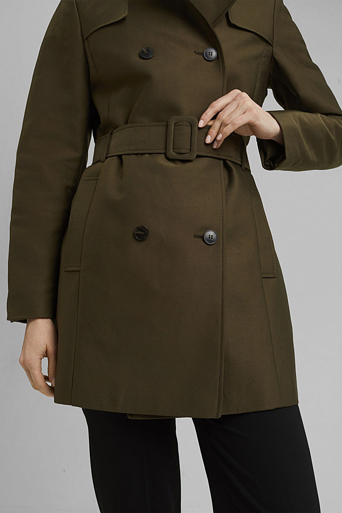 Trench coat in blended cotton, OLIVE, detail image number 2