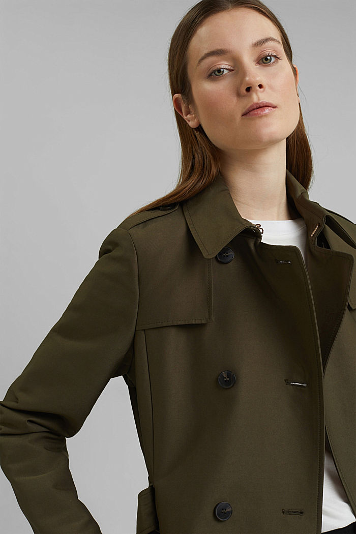 Trench coat in blended cotton, OLIVE, detail image number 5