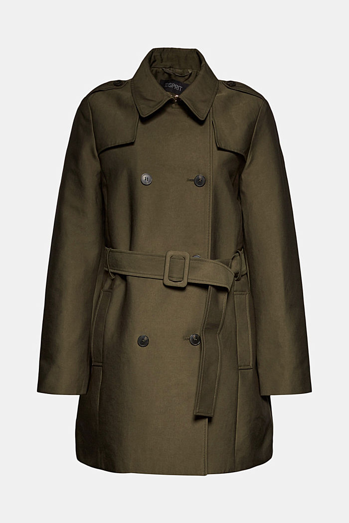 Trench coat in blended cotton, OLIVE, detail image number 7